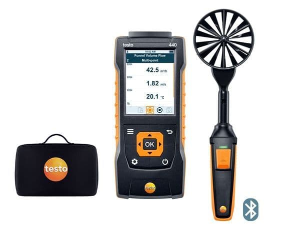 Testo 440 100mm Bluetooth Vane Anemometer Kit