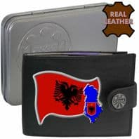 ALBANIA Albanian Flag Map Coat of Arms Klassek Real Leather Wallet With Options