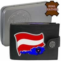 AUSTRIA Austrian Flag Map Coat of Arms Klassek Real Leather Wallet With Options