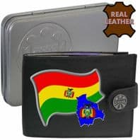 Bolivia BOLIVIAN Flag Map Coat of Arms Klassek Real Leather Wallet With Options
