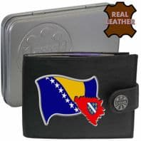 BOSNIA Bosnian Flag Map Coat of Arms Klassek Real Leather Wallet With Options