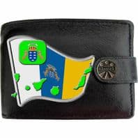 Canary Islands Spain Cannarian Flag Map Coat of Arms Klassek Real Leather Wallet With Options
