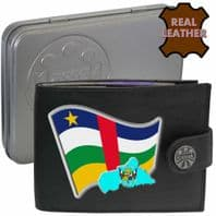 Central African Rep CENTRAL AFRICAN Flag Map Coat of Arms Klassek Real Leather Wallet With Options