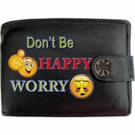 Dont Happy Worry Not Happy Sad Downbeat Klassek Real Leather Wallet With Options