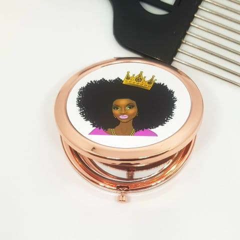 Afro Crown Compact Mirror