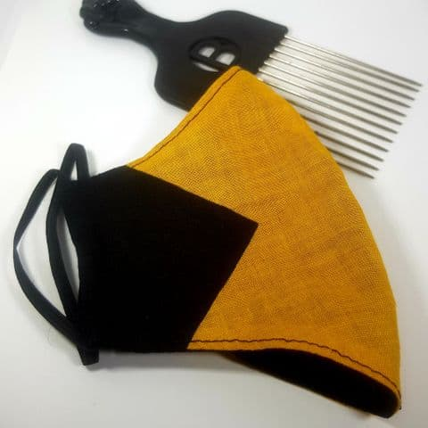 Black & Yellow Cotton Reversible Face Covering (10)