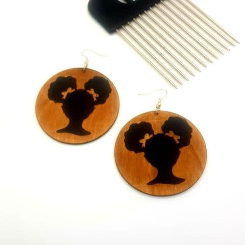 Princess Hair Bunches Wooden Earrings
