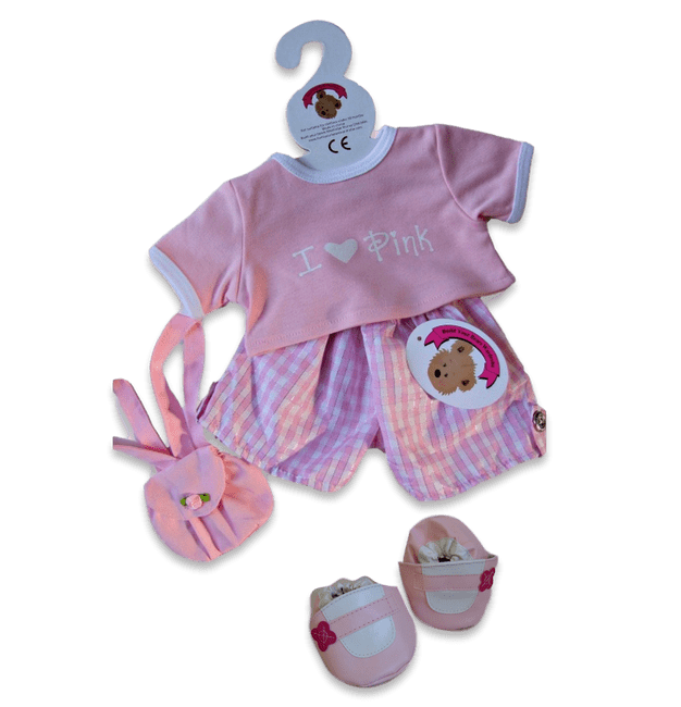 teddy bear clothes I Love Pink Shorts Outfit & Bag +FREE Shoes