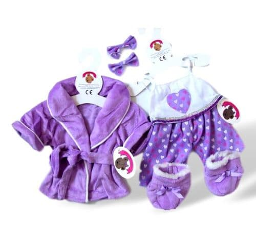 Purple Robe, PJ's, Boot and Slippers