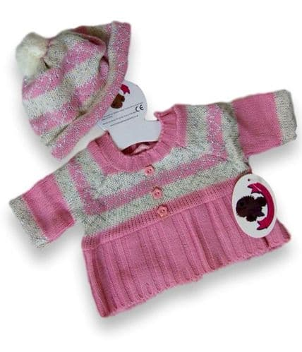 Teddy Bear Clothes Pink Knitted Dress & Hat
