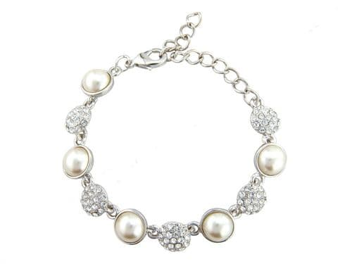 Amelia Pearl and Crystal Bridal Bracelet