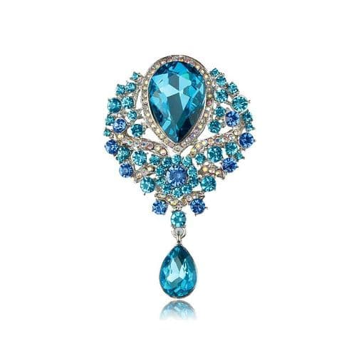 Aqua Blue Crystal vintage inspired  brooch