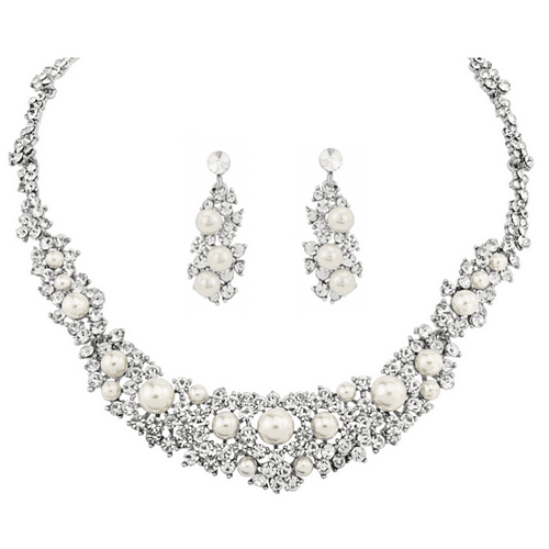 Athena Pearl Bridal Necklace Set, Crystal