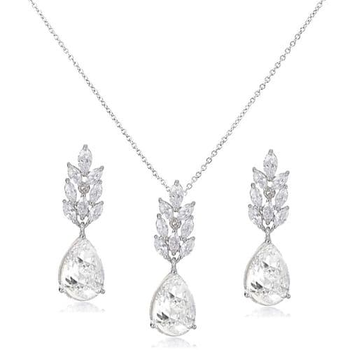 Bella CZ bridal necklace set, wedding necklace with crystal earrings
