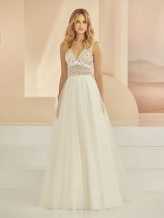 Boho A line wedding dress