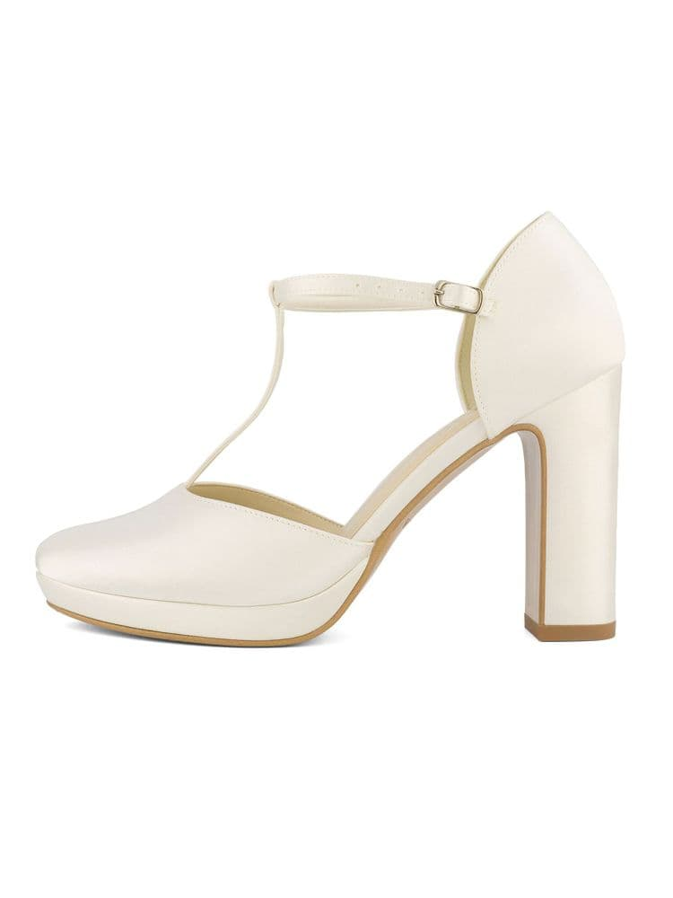 Chrystal ivory T-Bar bridal shoe, satin wedding sandal