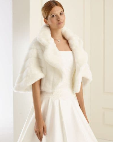 Clara Faux Fur Bridal Jacket, Fur Wedding Jacket Bolero