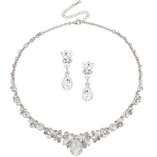 Crystal Bridal Necklace Set,  silver finish