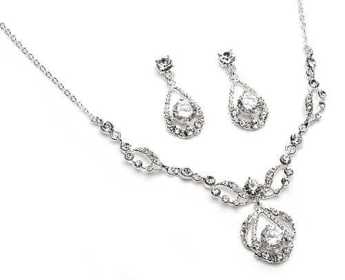 Crystal bridal necklace set with matching earrings