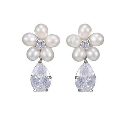 crystal bridal pearl earrings, wedding earrings