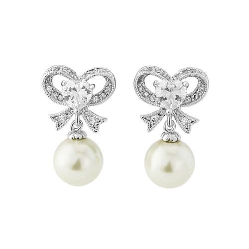 Cubic Zirconia pearl drop crystal wedding earrings