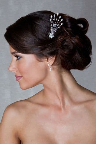 Faye Pearl Bridal Hair Comb with Crystals