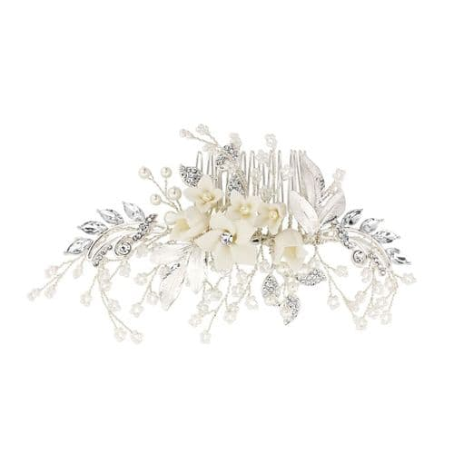 Floral crystal bridal hair comb with pearls