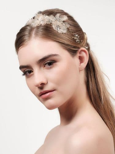 Flower Bridal Headpiece with pearls, crystals