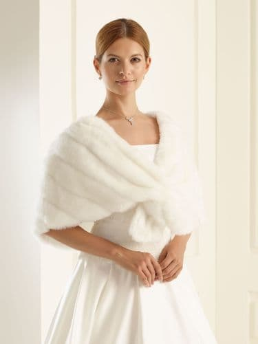 Gina Faux Fur Bridal Cape, Wedding Wrap, Shrug