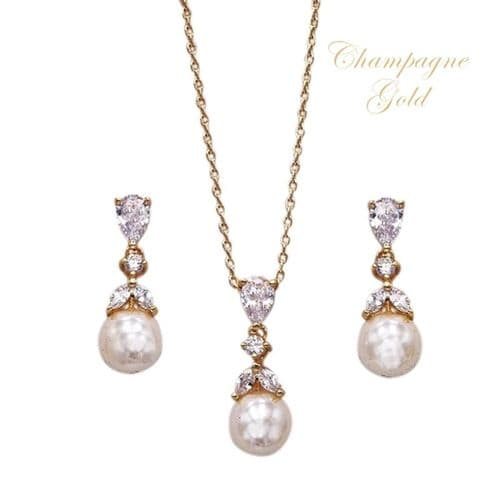 Kimberley champagne gold wedding necklace set, pearl drop