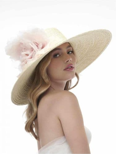 Ladies large brimmed straw hat with rose, wedding hat,