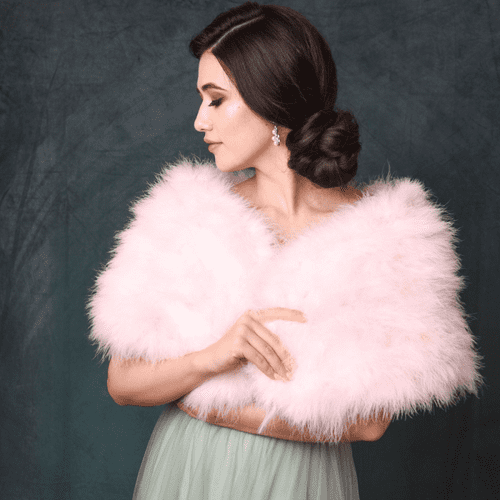 marabou feather bridal wrap, rose pink feather wedding shrug