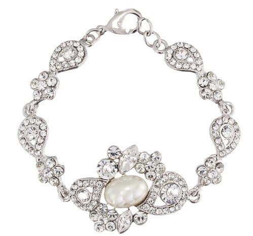 Mia Pearl and Crystal Wedding bracelet,  Bridal Jewellery