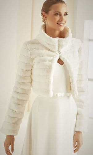 Mollie long sleeved faux fur bridal bolero, wedding jacket