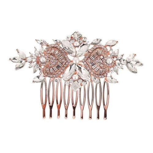 pearl bridal hair comb with pearls with a rose gold