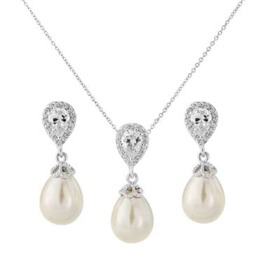 Pearl Necklace and Earring Set, Bridal Jewellery