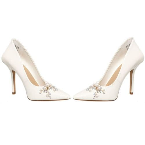 Romantic pearl bridal shoe clips, gold or silver finish