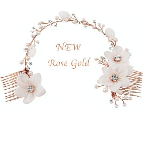 Rose gold bridal headpiece, rose gold wedding hair accessory