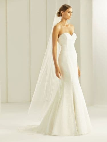 Tulle corded edge bridal veil with crystals, 66 inch
