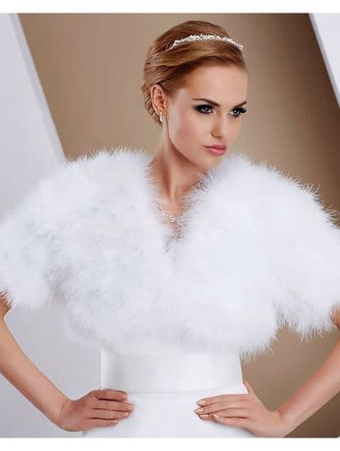 Vintage glamour feather bridal bolero