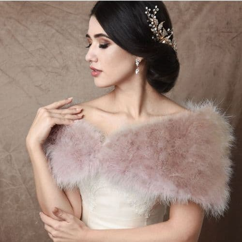 Vintage inspired blush pink marabou feather bridal wrap, stole