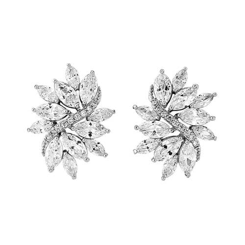 vintage style crystal bridal earrings, cz wedding earrings