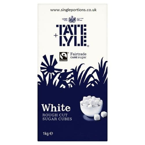 Tate & Lyle Fairtrade White or Demerara Rough Cut Sugar Cubes - BULK PORTIONS