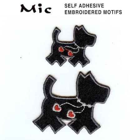 2 Self Adhesive Embroidered Dog Motifs