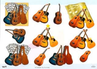 3d Decoupage Sheet With Embossed Guitar Designs