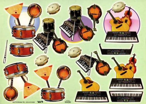3d Decoupage Sheet With Embossed Guitar, Keyboards and Drum Designs