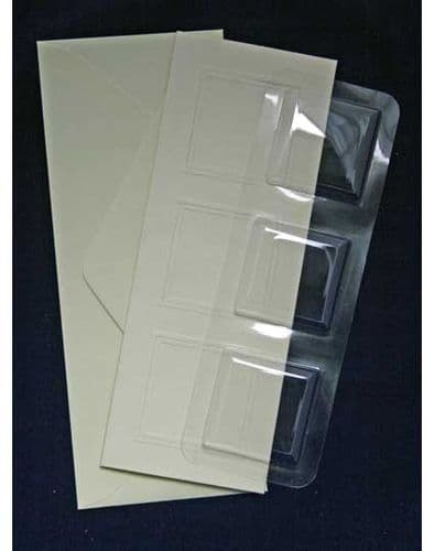 """5 Oblong  3"""" x 8"""" Blank Bubbles & Cards For Creating Snow Globe or 3D Decoupage Greeting Cards"""