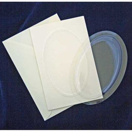 """5 Oval 4"""" x 6"""" Blank Bubbles & Cards To Create Snow Globe 3D Decoupage Greeting Cards"""