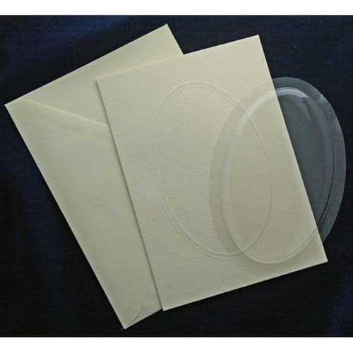 """5 Oval 5"""" x 7"""" Blank Bubbles & Cards To Create Snow Globe Or 3D Decoupage Greeting Cards"""