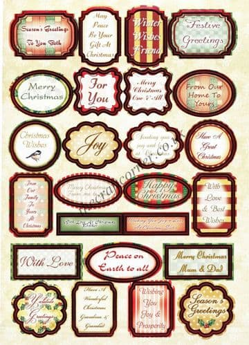 50 Red and Green Foil Christmas Greeting Die Cut Toppers from Craft UK Ltd - 2 Sheets